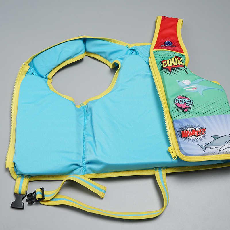 Chaleco salvavidas Megartico para niños de 2-6 años Chaleco de entrenador de nado con estampado de tiburón
