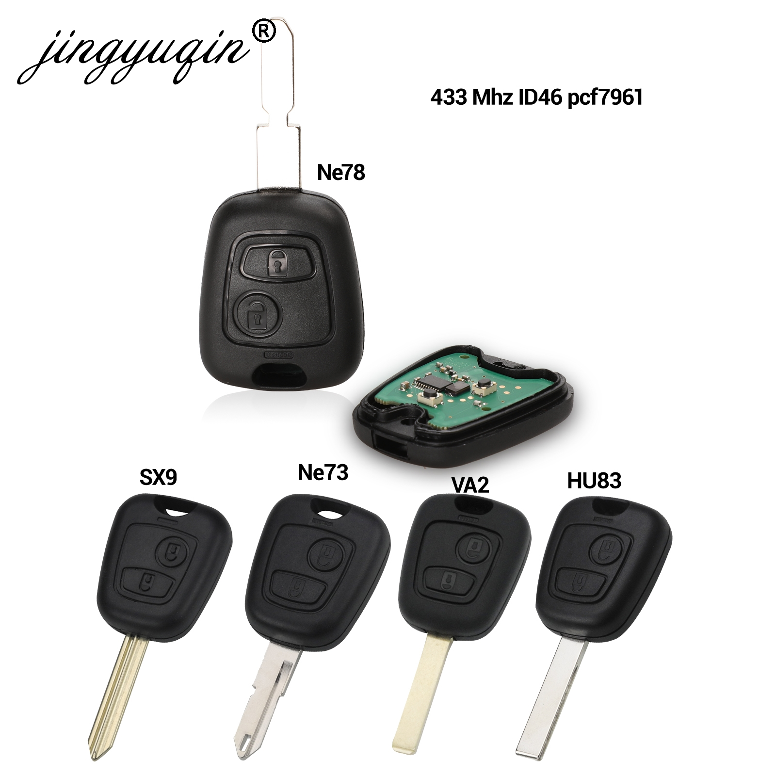 Botão do Controle Remoto Fob Chave Do Carro Para Citroen 2 C1 C2 C3 C4 Saxo Xsara Picasso Picasso Peugeot 106 206 306 307 107 207 407 Parceiro