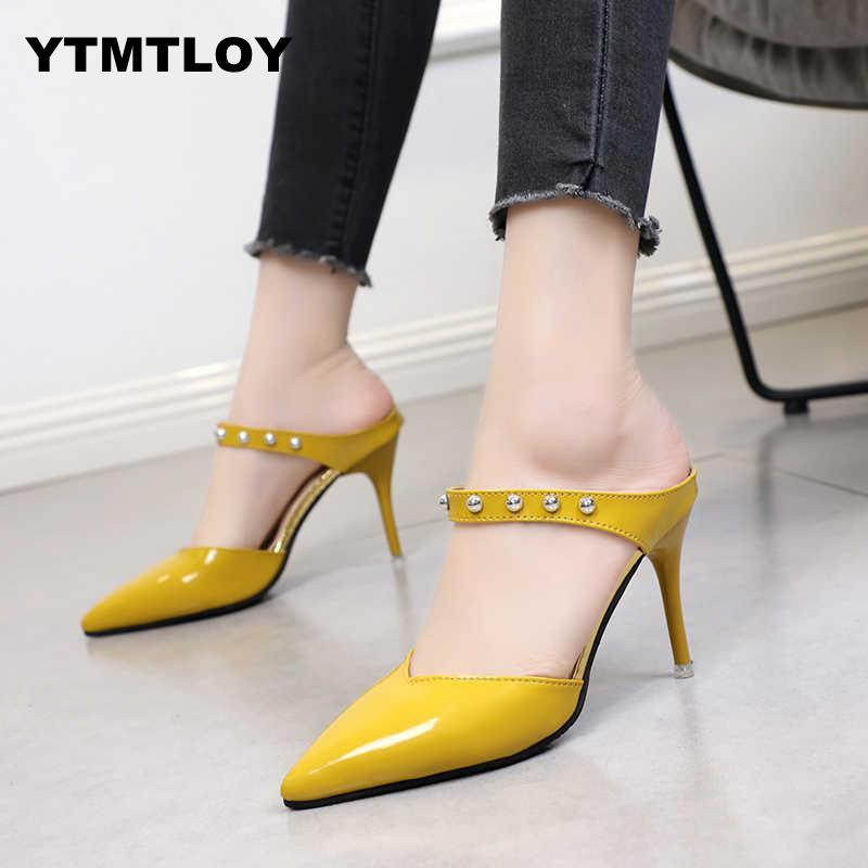 Women Pumps Sexy Summer Shoes High Heels Brand Party Slingback Pointed Toe Buckle Strap Female Dress  Nude Heels  Wedding  Black