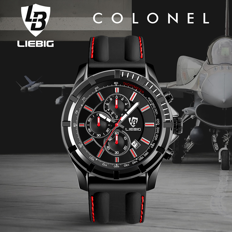LIEBIG Big Dial Quartz Watch Men Sports Watches 50M Waterproof Fashion Calendar Military Wristwatches Relogio Masculino