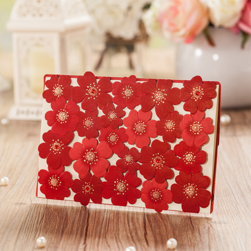 Lace Design Red Flower Rose Invitations Card Kit For Wedding Paper Blank Printing Invitation Cards Party Festivals Invite square design white laser cut invitations kit blanl paper printing wedding invitation card set send envelope casamento convite