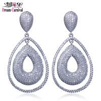Dreamcarnival 1989 New Trendy Earrings Teardrop Double Layers Shining Crystal Long Kolczyki Drop For Ladies SE11718