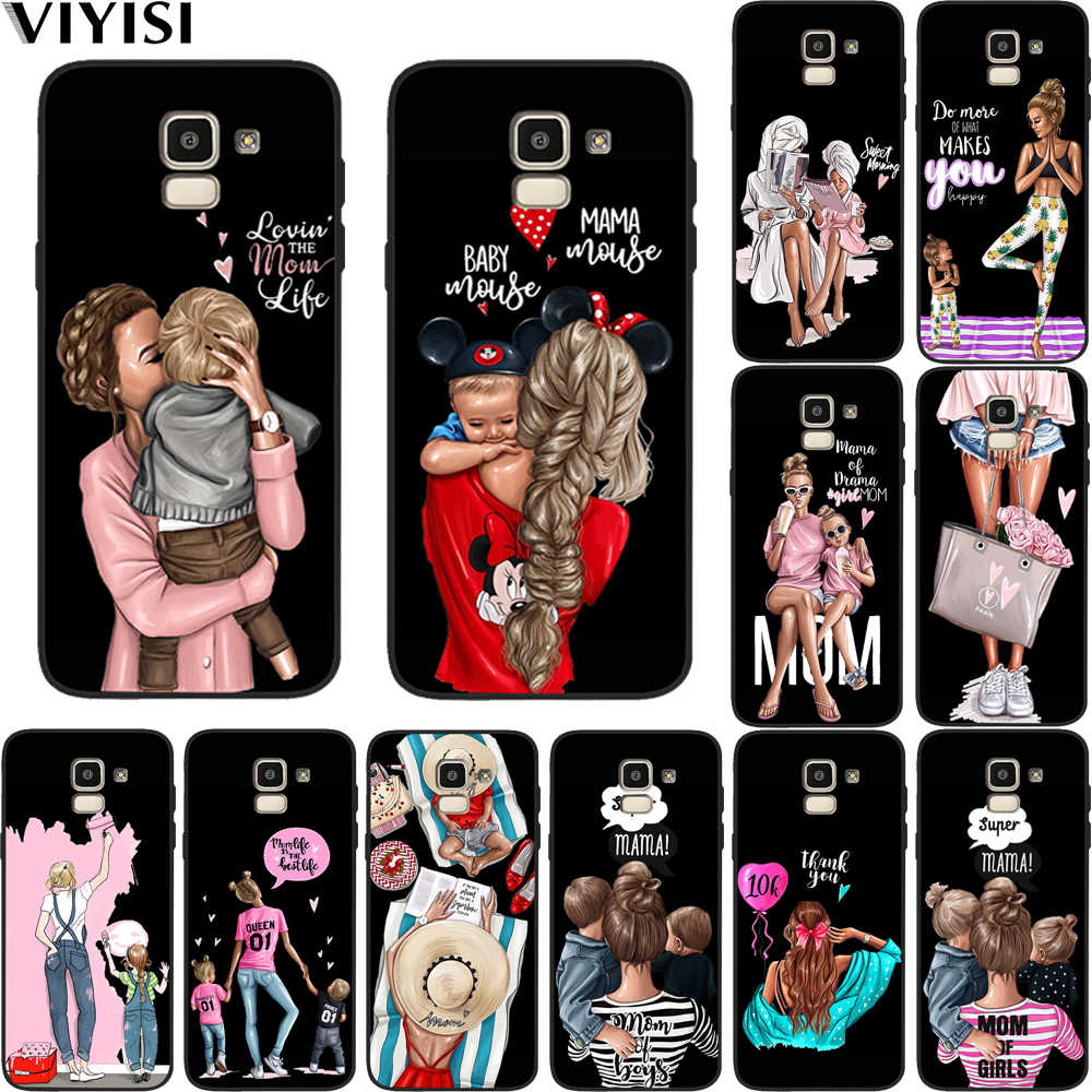 Phone Case For Samsung Galaxy S10 Case s8 S7 S9 J7 J4 J6 J8 Plus Note 8 9 Brown Hair Mama Baby Mouse Super Mom Girl Etui Coque