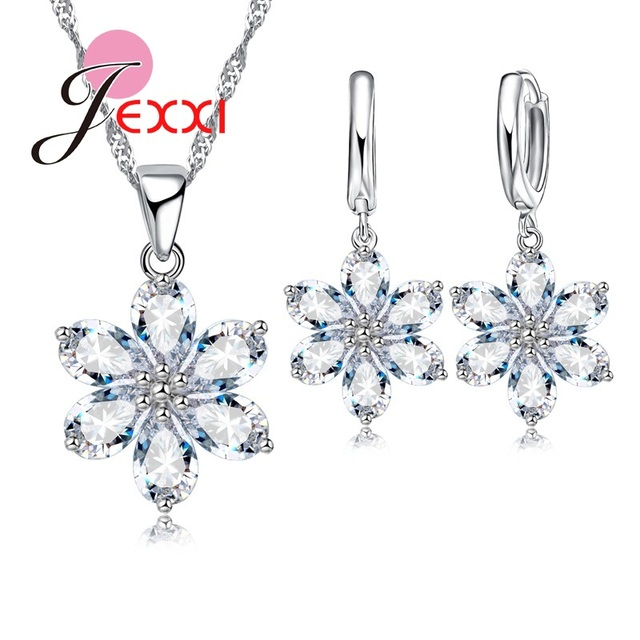 JEXXI Vintage Beautiful Flower Crystal Jewelry Set 925 Sterling Silver Pendant Necklace+Drop Earrings+Chains set For Womens Gift