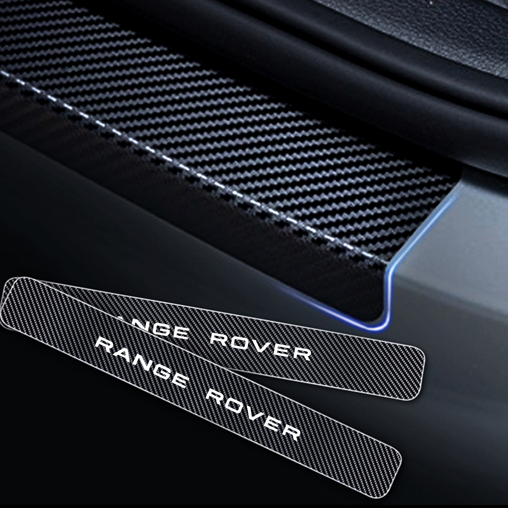 For Land Rover Range Rover Carbon Fiber Vinyl Sticker Car Door Sill Protector Scuff Plate Accessories 4Pcs