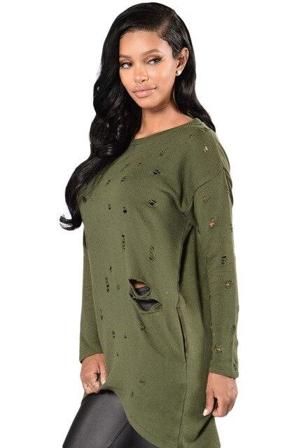 2017 New Autumn Women's Sexy Long Sleeve Casual Fashion Gray Army Green Decorative Destruction Oversize Women Shirt LC25961