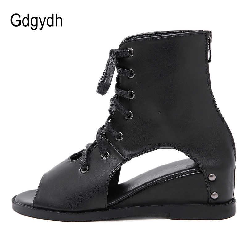 Gdgydh Burnu açık yarım çizmeler Kadınlar Için Takozlar Topuk Ayakkabı Kadın Roma Dantel Bahar Yaz Yumuşak Deri Öğrenci Ayakkabı Okul 2019