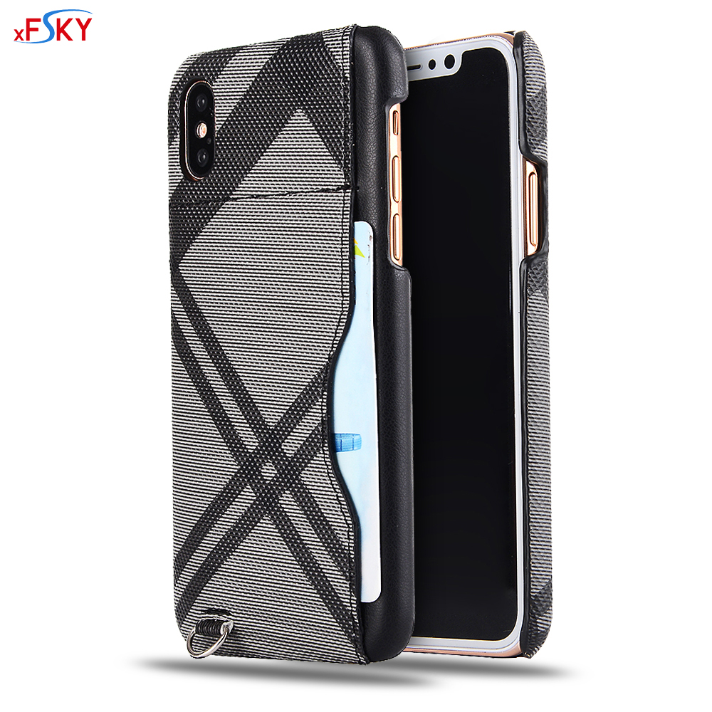 xFSKY Fashion No. 7 Grid Pattern Back Case For Apple iphone X Business PC+PU Anti-knock Credit Card Slot Protective Cover Shell