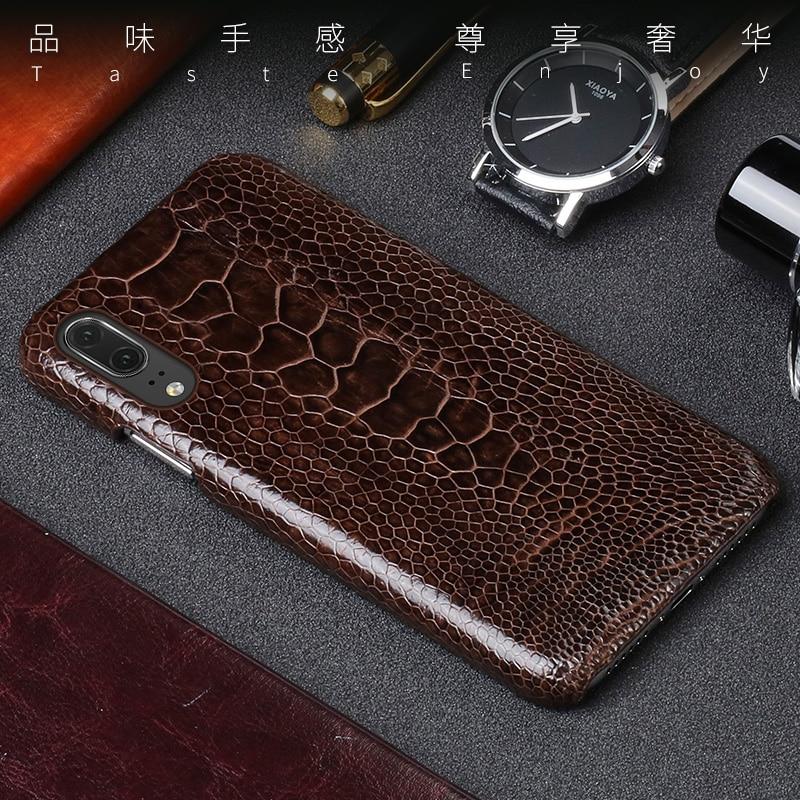 Capa de telefone de couro de luxo para huawei p10 p20 lite p10 p20 p30 pro caso de avestruz natural pé pele para mate 10 lite p caso inteligente - 3
