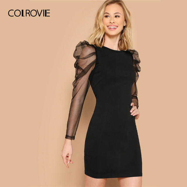 COLROVIE Black Mesh Gigot Long Sleeve Sheer Bodycon Elegant Dress Women 2019 Spring Slim Fit Mini Party Office Ladies Dresses 2
