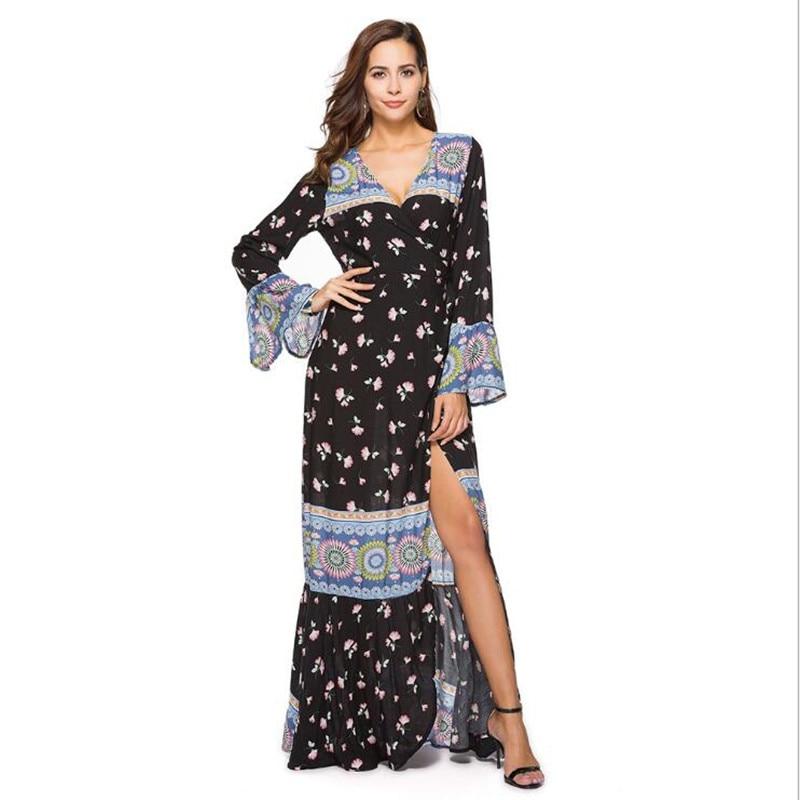 plus size boho chic floral print cotton long sleeve maxi dess 2018 Fashion Beach bohemia femme floor length women dress