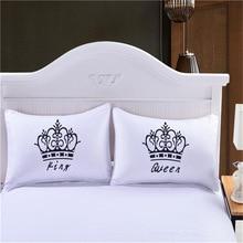 Роскошная корона, король, королева, белая декоративная наволочка, чехол, пара, подарок, пара, одна подушка, капа, Комплект постельного белья, наволочка, чехол s