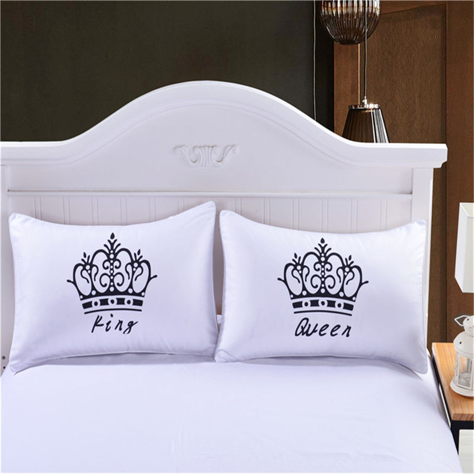 Latest luxury crown king queen white decorative pillow for Decorative bed pillow case