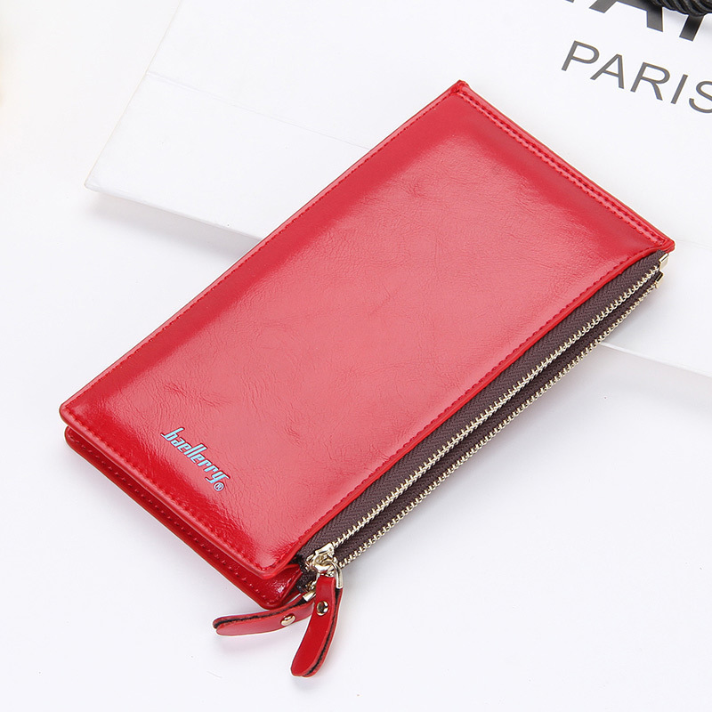 Oil wax leather Women long wallet double zipper female candy color purse lady clutch bag slim coin pocket phone bag for girl