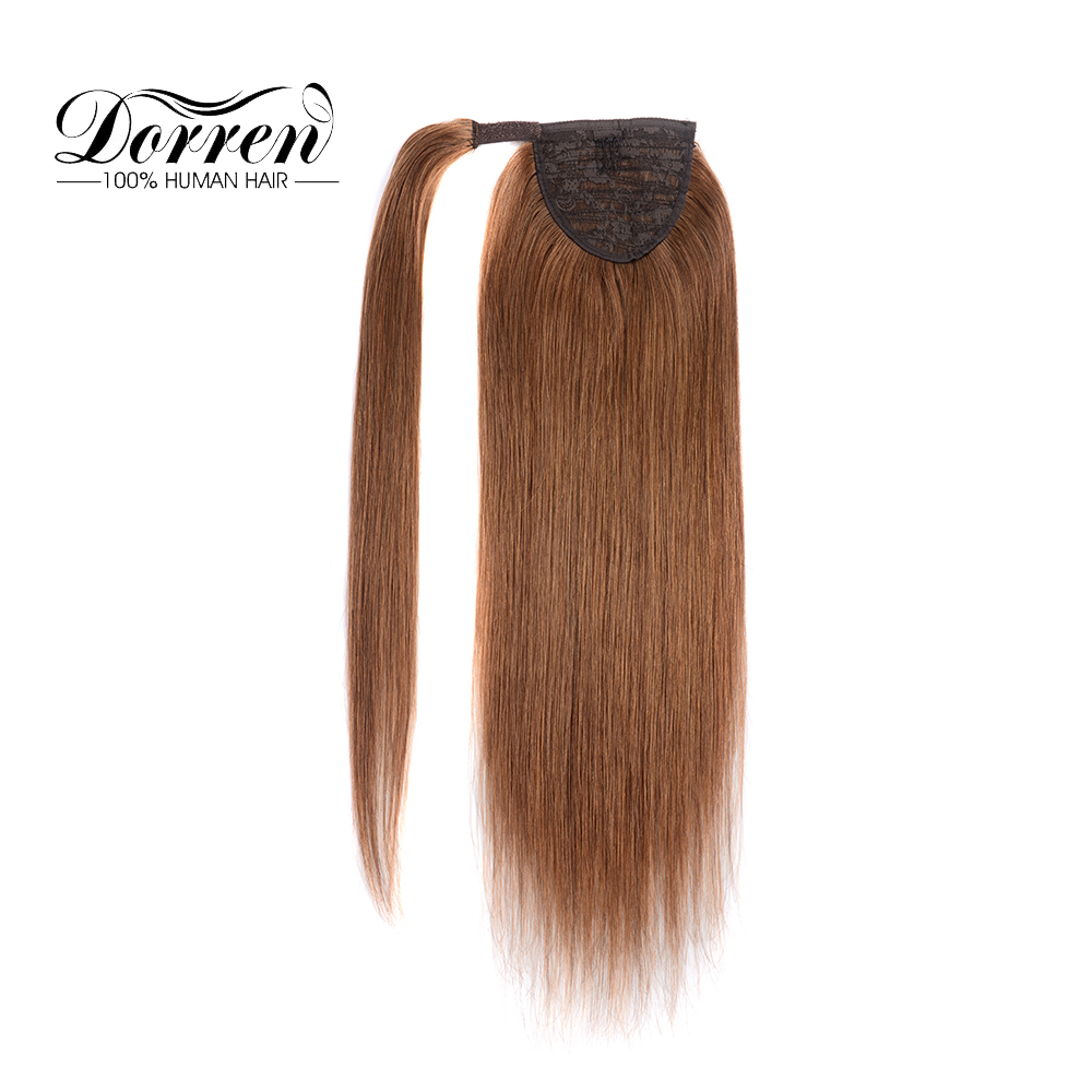 """Dorren Clip In Human Hair Extensions Machine Made Remy Brazilian Human Hair Ponytail Hairpieces Light Brown 14"""" To 22""""(China)"""