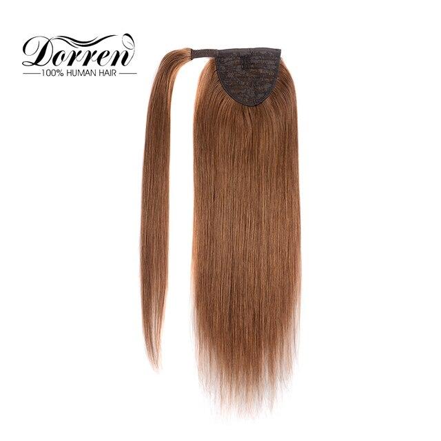 """Dorren клип в пряди человеческих волос для наращивания машина сделано Реми бразильский натуральные волосы хвост шиньоны светло коричневый 14 """"до 22"""""""