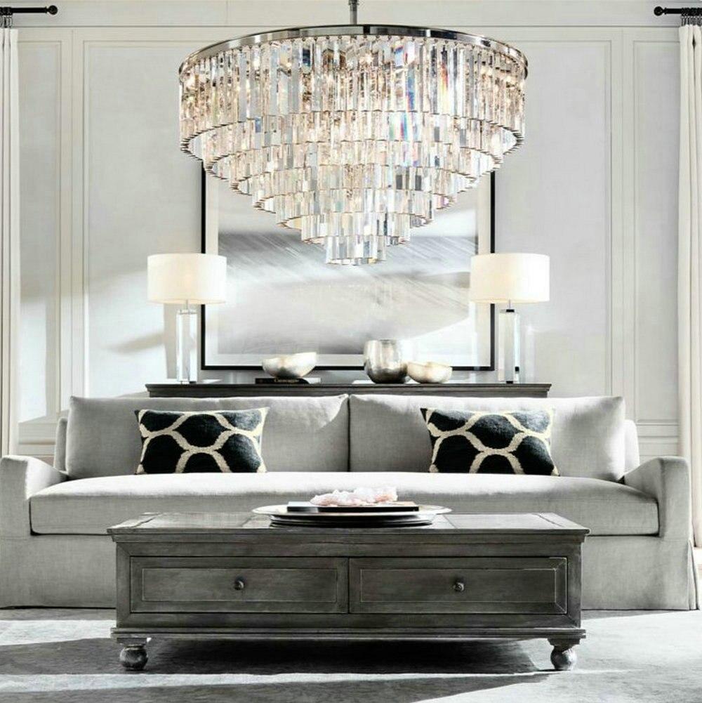 Lustre LED Anneau Vintage Loft Verre K9 Lustre En Cristal Luminaires Lumières pour Chambre Salon Cuisine