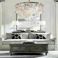 Lustre LED Ring Vintage Loft Glass K9 Crystal Chandelier Lighting Fixtures Lights for Bedroom Living Room Kitchen