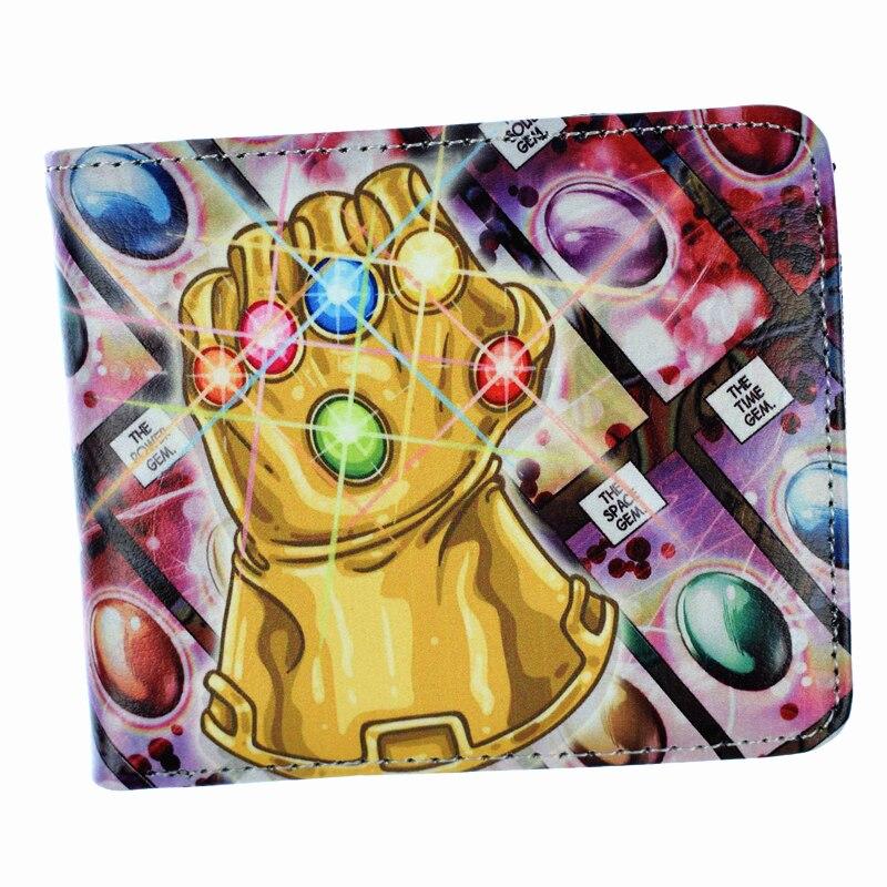 New Arrival Men's Short Wallet Marvel Comics Villain Boss Thanos The Infinity Gauntlet Purse With Zipper Poucht цена