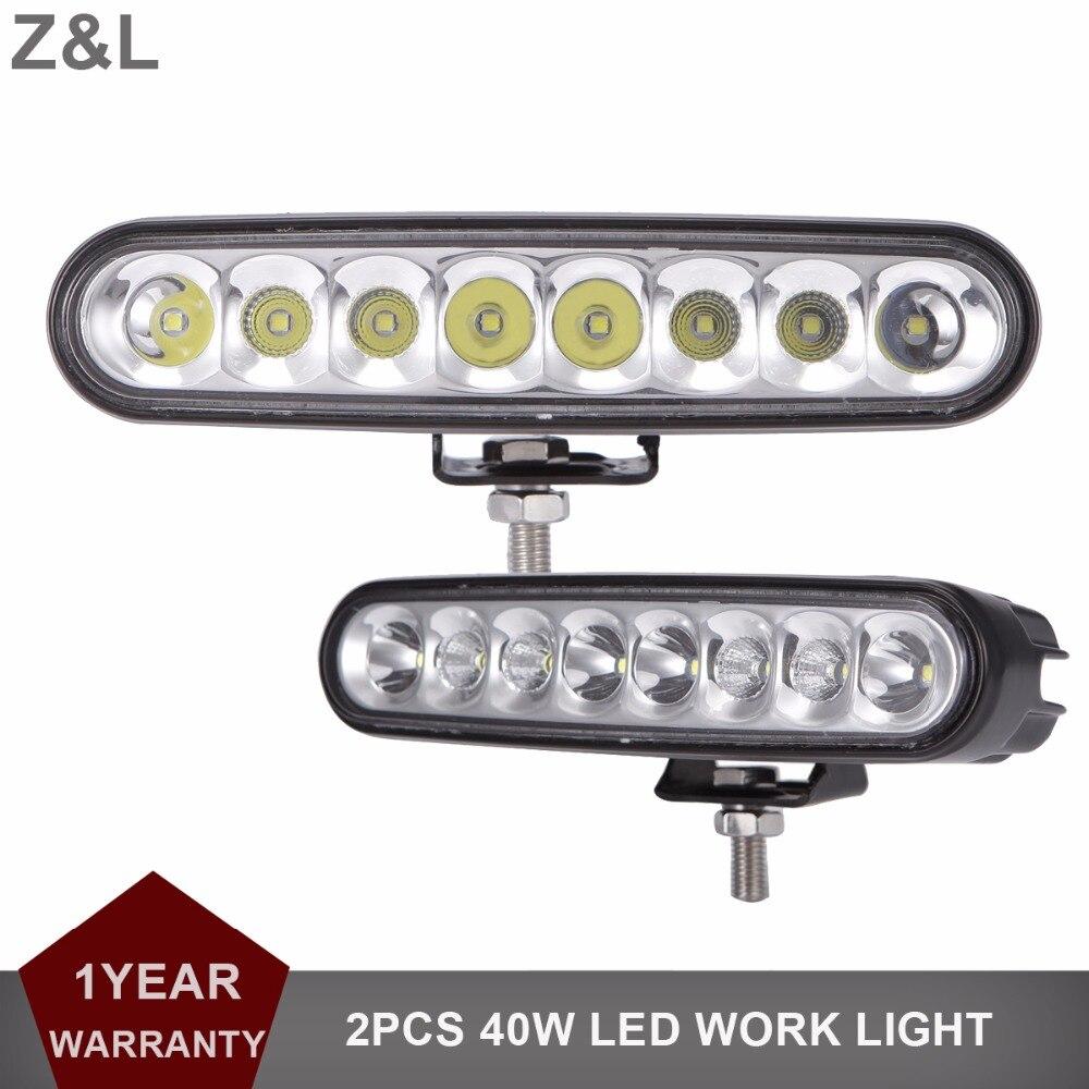 2x 40W LED Work Light Bar DRL Offroad SUV Car Tractor Boat 4WD 4x4 Truck ATV Auto Headlight Combo 12V 24V Wagon Driving Fog Lamp