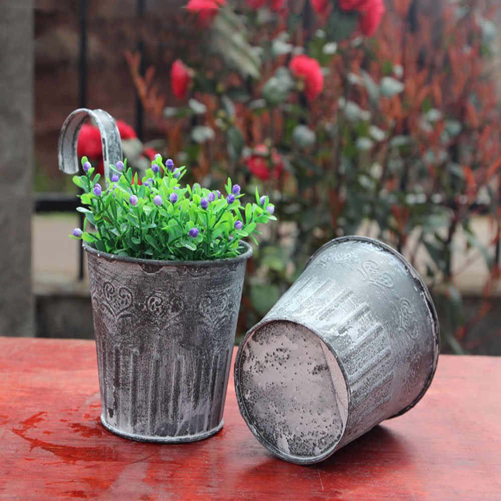 Vaso di fiori Da Giardino Appeso Balcone Pianta Complementi Arredo Casa In Metallo di Ferro In Vaso Fioriera W624