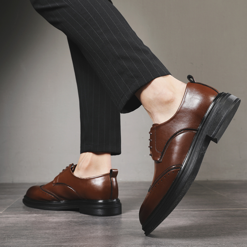 DXKZMCM Men Shoes Leather Men Dress Shoes Luxury Men 39 s Business Casual Classic Gentleman Shoes in Formal Shoes from Shoes