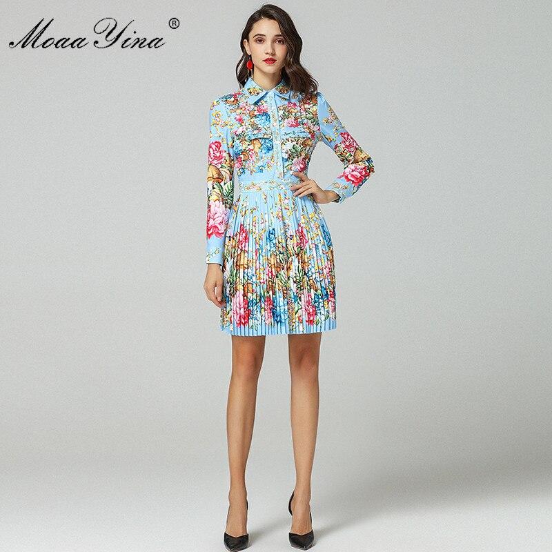 Moaayina 패션 디자이너 런웨이 드레스 봄 여성 긴 소매 턴 다운 칼라 구슬 꽃 인쇄 우아한 pleated 드레스-에서드레스부터 여성 의류 의  그룹 2