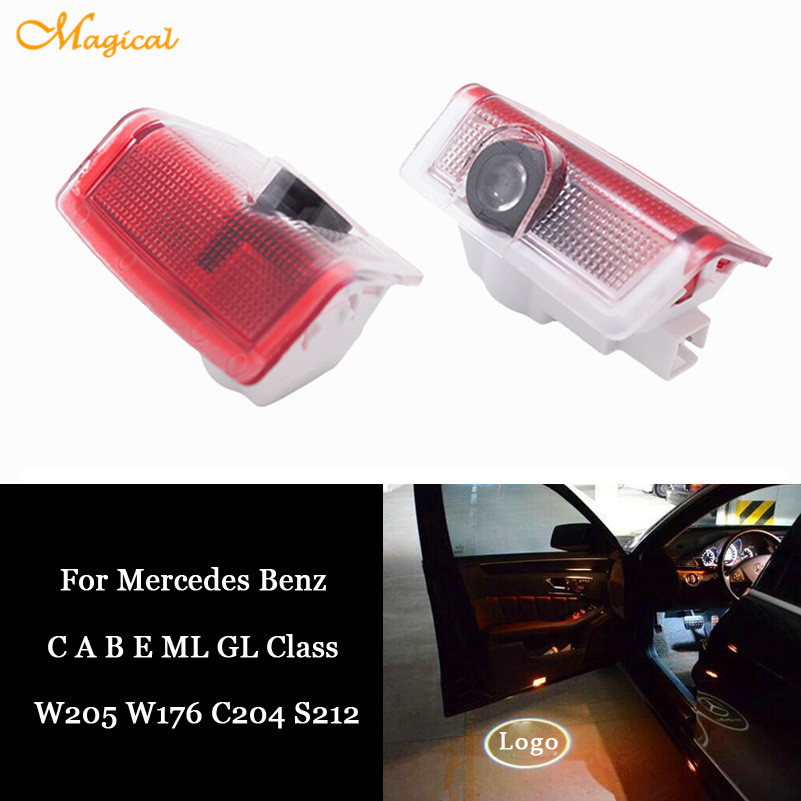 2 x car led door courtesy projector logo light for for Mercedes benz door lights