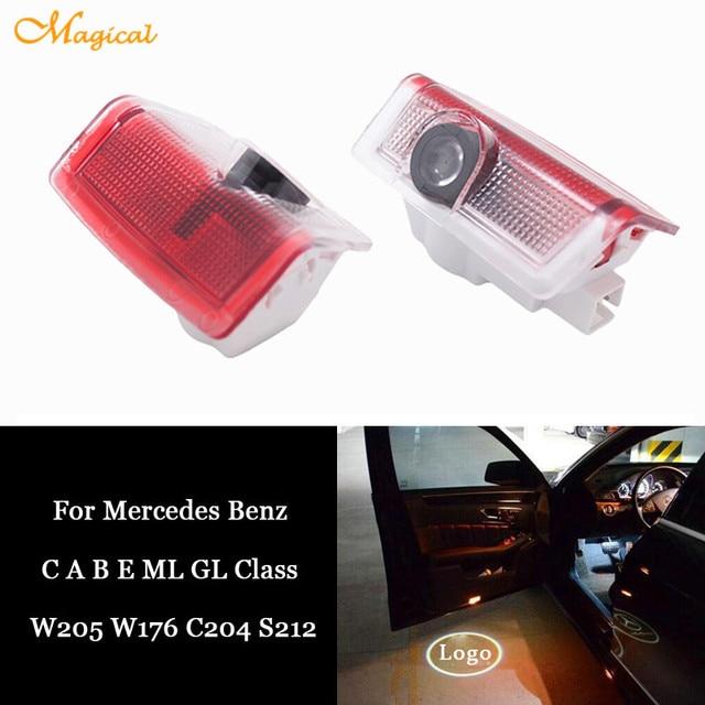 2 x Voiture LED Porte Courtoisie Projecteur Logo Lumière Pour Mercedes Benz W176 W205 C204 Coupé AMG C Un B E ML GL Classe 4 Matic