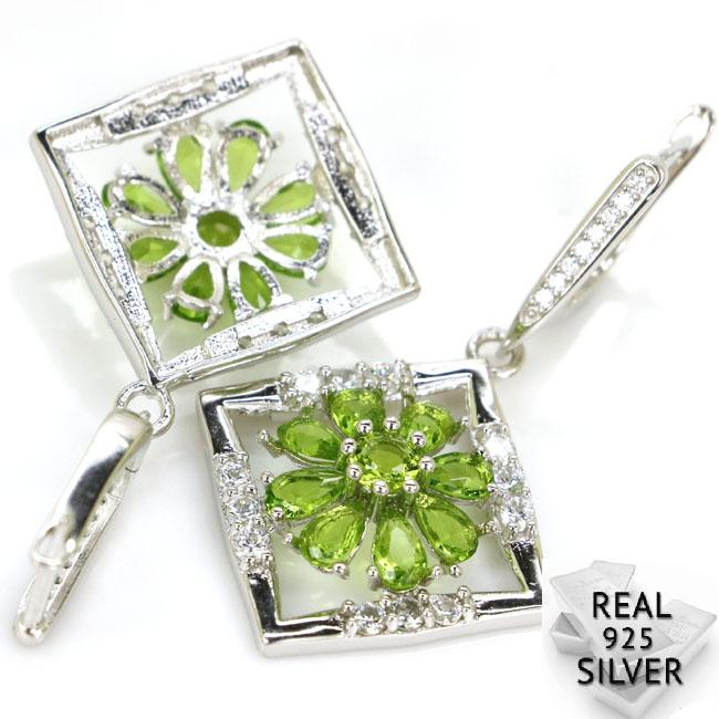 Real 7 7g 925 Solid Sterling Silver Ravishing Green Peridot Cubic Zirconia Woman 39 s Earrings 42x24mm in Earrings from Jewelry amp Accessories