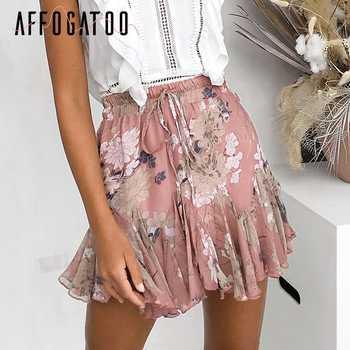 Affogatoo Casual ruffle bohemian floral print skirt women Elastic boho short skirt female High waist holiday beach summer skirt - Category 🛒 Women\'s Clothing