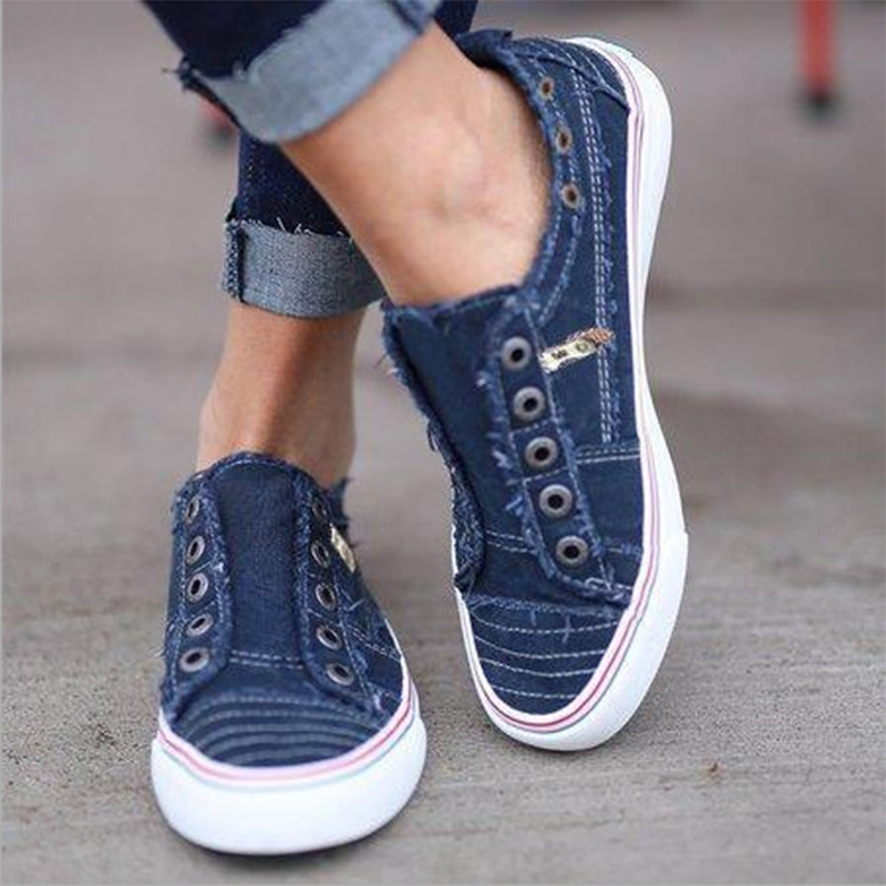 SHENIFY 2019 New Shoes Women Comfort Canvas Sneakers Daily Slip-on Flat Shoes Fashion Casual Denim Ladies Shoes