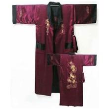 Green Black Reversible Chinese Men's Embroidery Kimono Satin Silk Two-face Robe