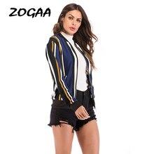 ZOGAA Striped Print Women Jackets Baseball Zip Fashion Comfortable Office Lady Crane Street Satin Bomber Female