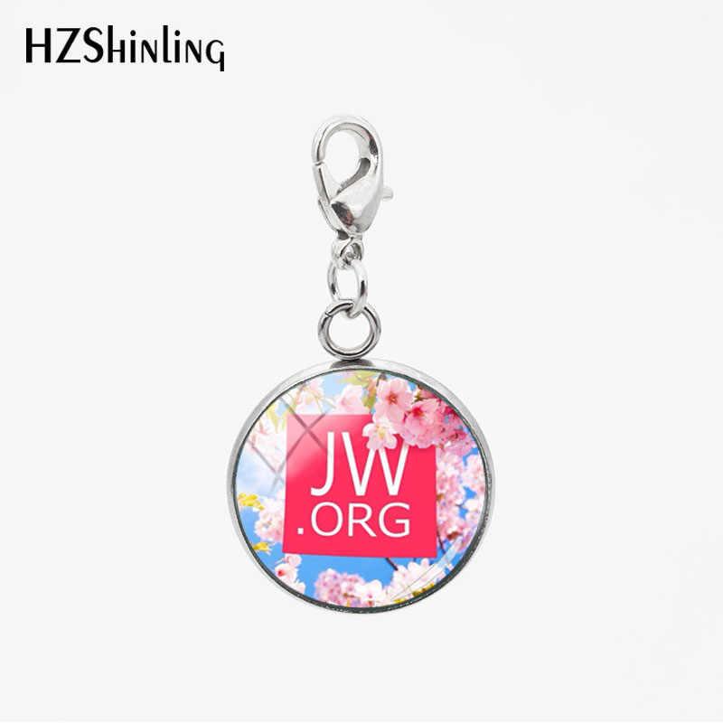 De moda de acero inoxidable JW ORG Betterfly flores colgantes de vidrio redondo encantos cualquier ocasión coche collar llavero desmontable