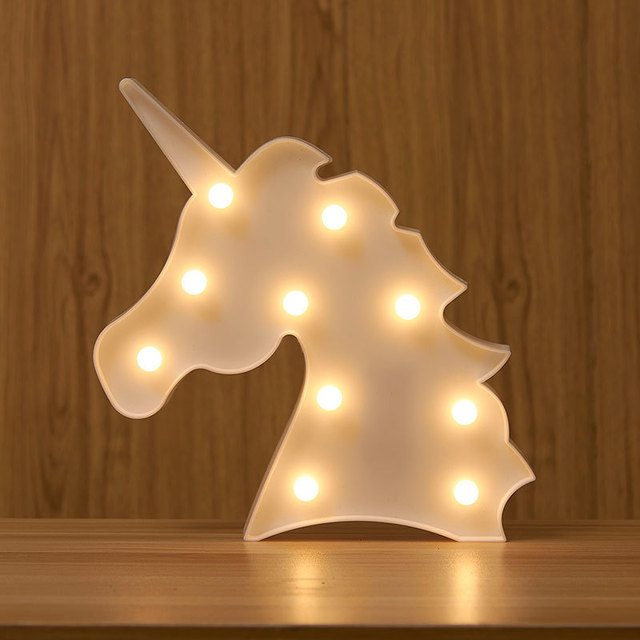 Unicorn Head Led Night Light Animal Marquee Lamps On Wall For Children  Party Bedroom Decor Kids
