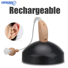 New Rechargeable hearing aid mini device ear amplifier digital aids behind the for elderly loss care