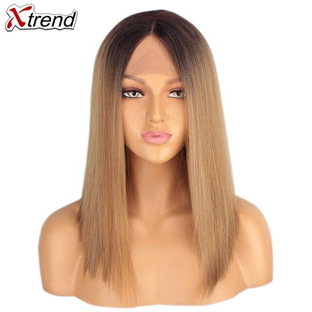 Xtrend مستقيم الاصطناعية الدانتيل شعر مستعار أمامي Middel جزء أسود شقراء اللون 14 بوصة بوب الباروكات للنساء السود شعر مستعار أومبير