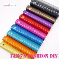 9PCS 20X22CM DIY Stripe PVC GLITTLE Glossy Leather Set Synthetic Leather DIY Fabric CAN CHOOSE COLOR