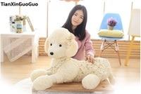 stuffed toy large 85cm cartoon poodle dog plush toy prone dog dressed skirt soft doll hugging pillow birthday gift s0937