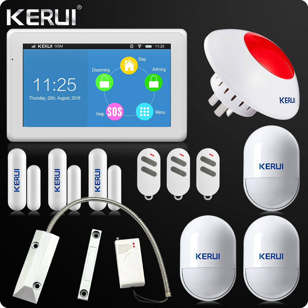 Kerui K7 Newest Arrival WIFI GSM Alarm System 7 Inch TFT Color Display for Home Alarm System Wifi Loud Siren Rolling door sessor kr k7 new arrival touch screen amazing design 7 inch tft color display wifi gsm flat table alarm system kit sd03 smoke detector