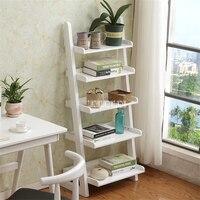 XM004 5-Layer Wooden Bookshelf Landing Simple Wall Bookshelf Living Room Creative Solid Wooden Bookrack Trapezoid Bookcase