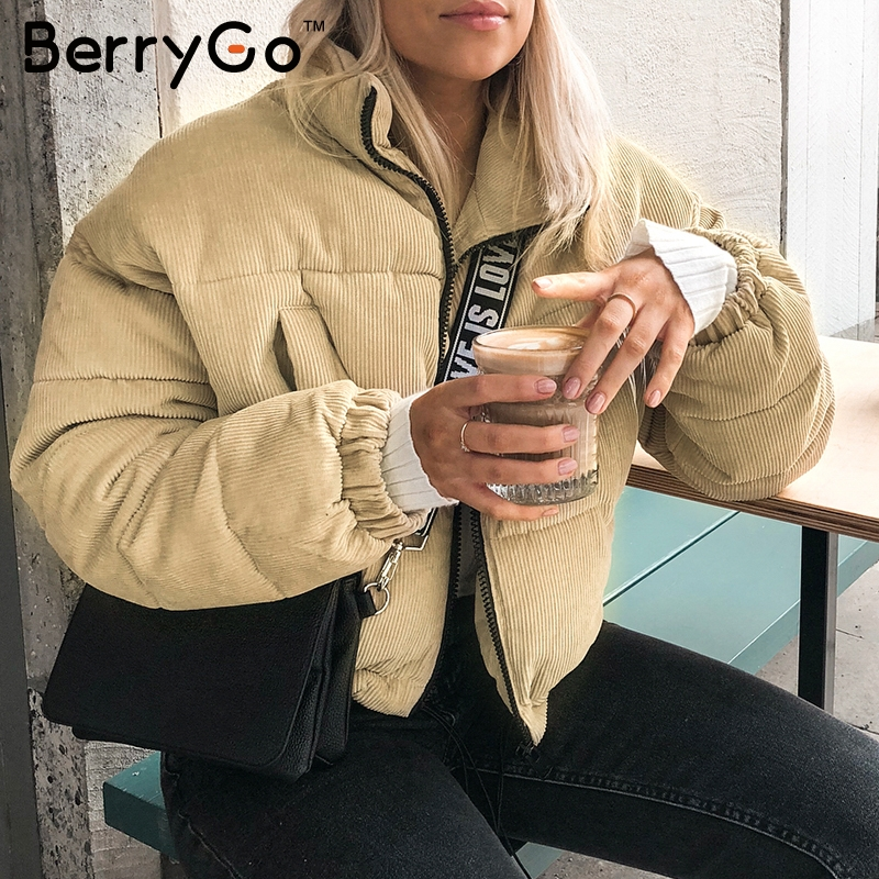 BerryGo Casual corduroy thick parka overcoat Winter warm outerwear Women 2018 khaki
