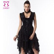 2ba479e50 Vestido corsé Steampunk gótico victoriano de encaje Floral negro de graduación  vestido largo y vestidos de Bustiers Sexy Burlesq.