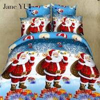 Santa Claus Christmas Bedding Sets Queen Cotton Elegant Snowflake Christmas Duvet Cover Cartoon Kids Christmas Bedding