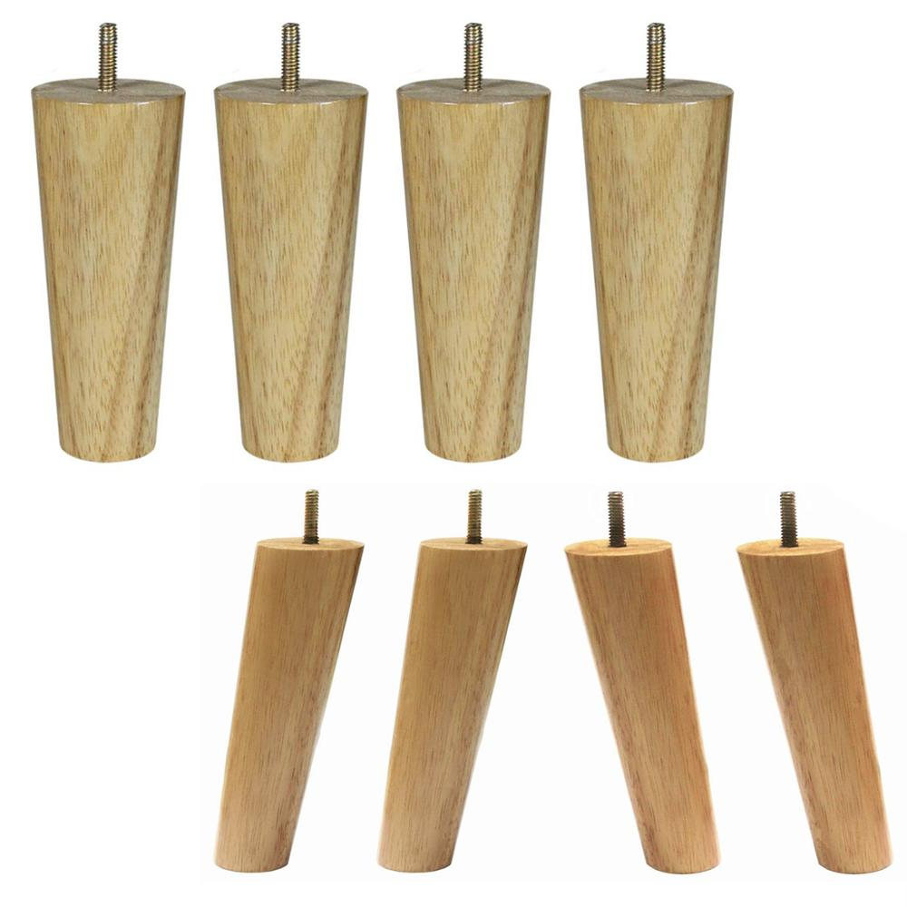 15cm Height Wood Color Rubber Wood Furniture Legs M8 Thread Replacement For Cabinet Chair Couch Table Bed Feet Pack Of 4