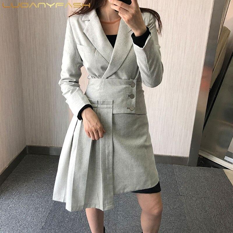 Luoanyfash femmes à manches longues Trench Coat Patchwork plissé Cummerbund coupe-vent hauts femme mode vêtements 2018 automne nouveau