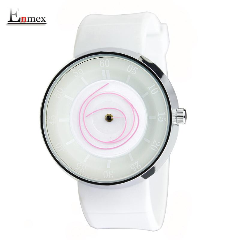 Prix pour 2017 lady cadeau enmex hommes vol créative conception montre-bracelet angle visage blanc de sport de mode casual quartz femmes montres