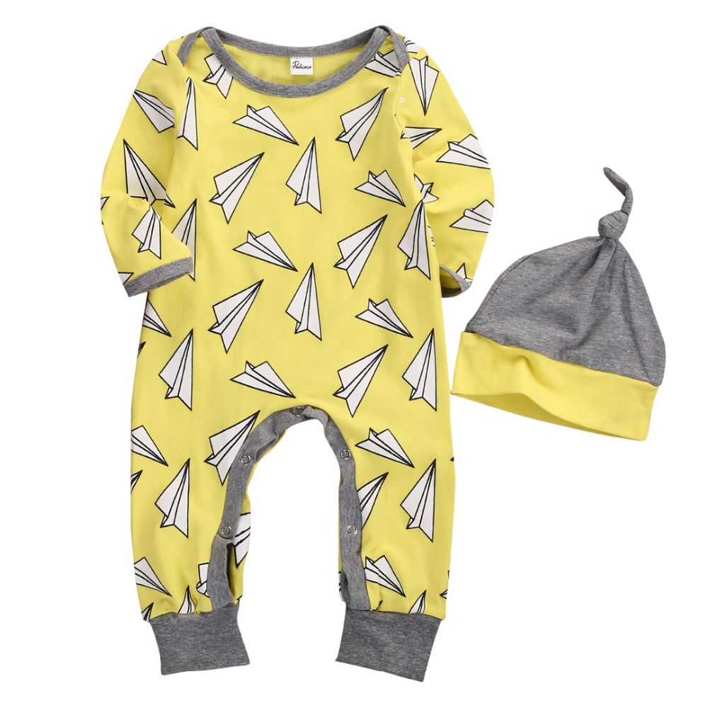2 pcs Fall Spring Newborn Kids Long Sleeve Paper Airplane Romper Baby Boys Girls Print Planes Romper Jumpsuit+ Hat Outfits 2PCS