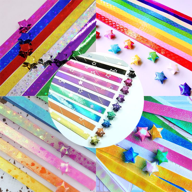 450Pcs Cute Folding Kit Lucky Origami Heart Diy Pearl Shine Mix Design 01  Wish Star Paper Strips Papers Crafts Material Gift